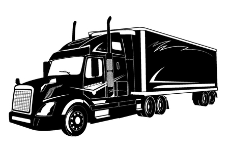 icon of truck, semi truck, vector illustration Çizim