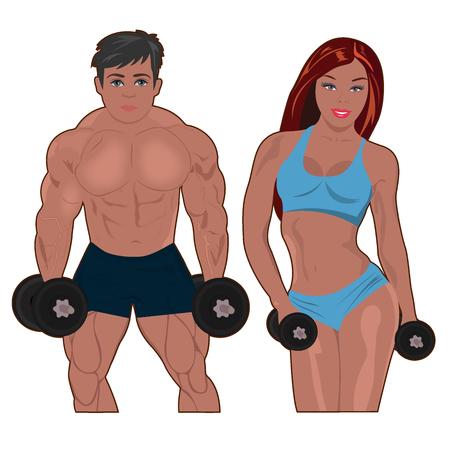 Bodybuilder and fitness girl vector illustration Illustration