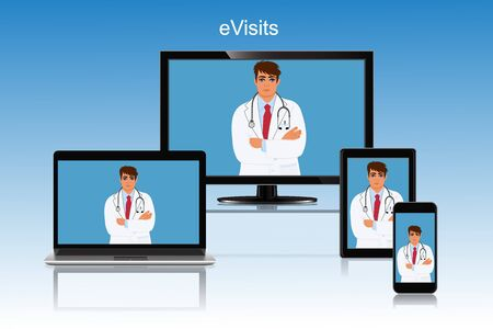 Doctor appointment online visit vector illustration