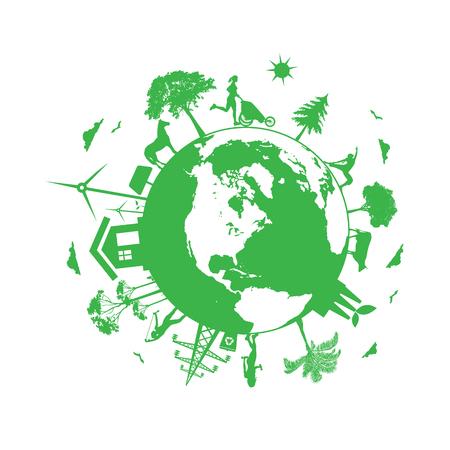 Renewable energy, eco planet, vector illustration Illustration