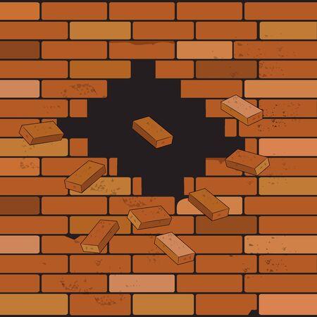 Brick wall and crack, vector illustration. Illusztráció