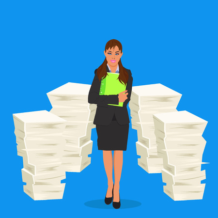 Business lady with stack of paper, vector illustration Stock Illustratie