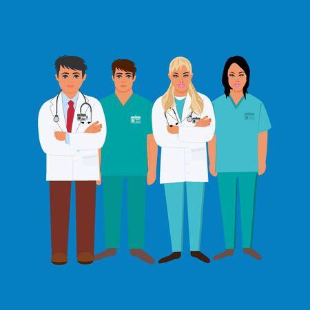 Doctors, medical personnel, vector illustration