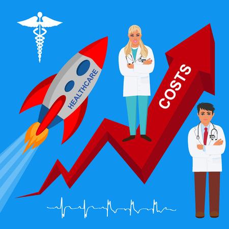 rising healthcare costs, vector illustration Illustration
