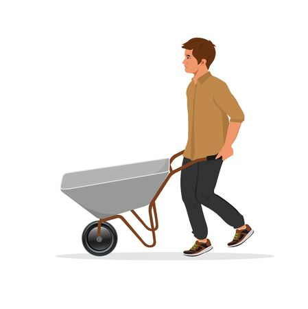 man with empty barrow, vector illustration Illustration