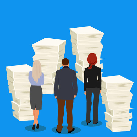 stack of papers and business people, vector illustration