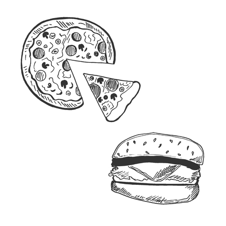 Pizza and hamburger in sketch style, vector illustration  イラスト・ベクター素材