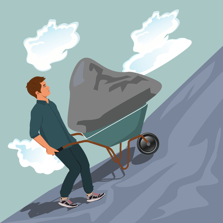 Man pushing stone uphill illustration
