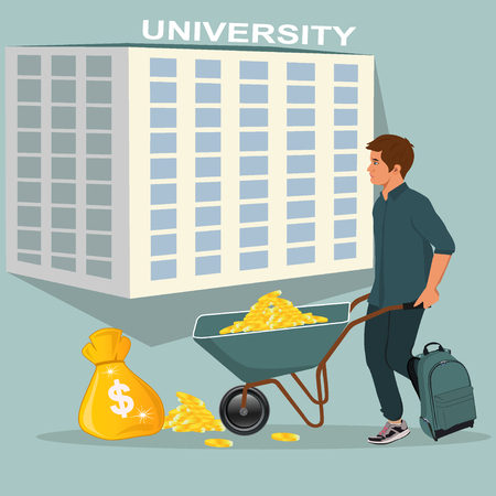 Money expense in university illustration Illustration
