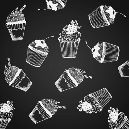 pattern with cupcakes, vector illustration