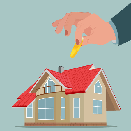 Investment in property, funds for house, vector illustration with house and big hand holding money.