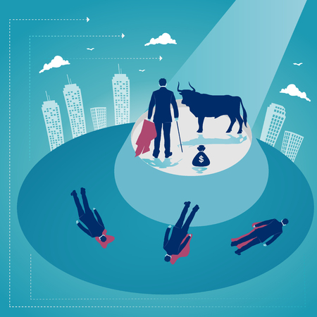 Bull is fighting with businessman. Business challenge. Business concept vector illustration Illustration