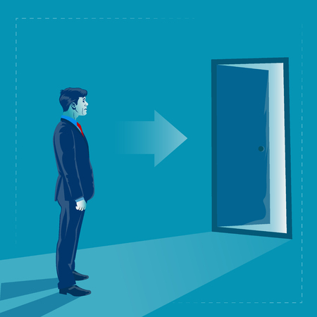 Businessman and open for opportunity door. Business concept vector illustration
