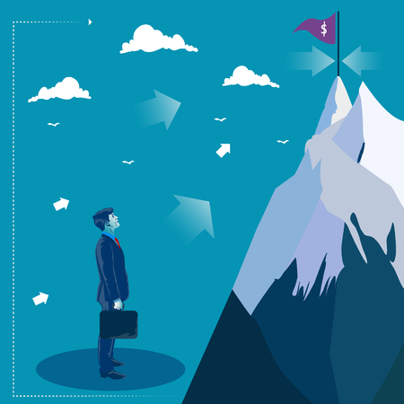 Businessman looking at the top of the mountain. Goal search. Business concept vector illustration