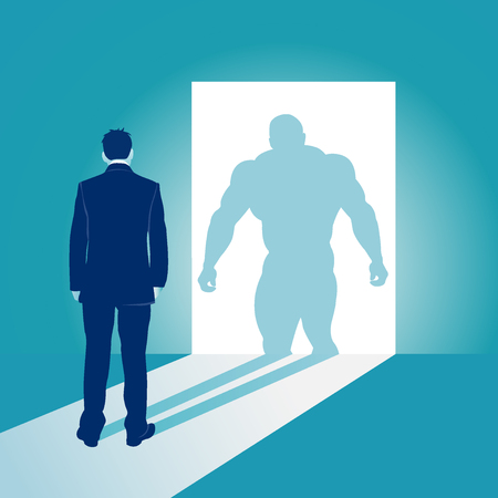 Businessman and his muscular shadow. Business concept vector illustration 向量圖像
