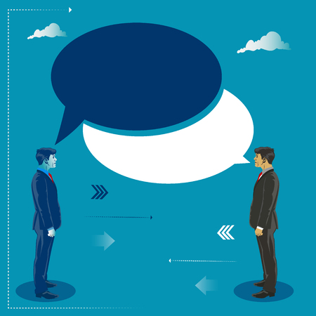 Two businessmen talking to each other, business concept  illustration