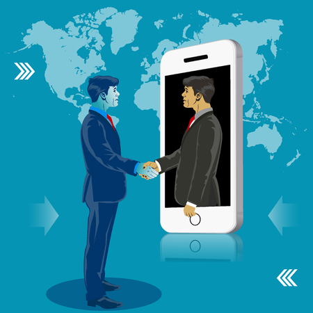Online business communication. Businessmen shaking hands. Business concept vector