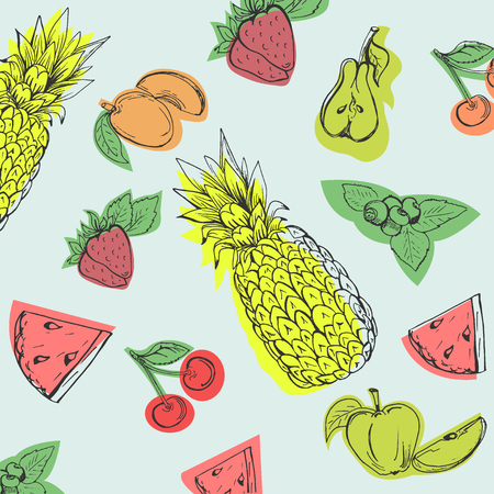 Fruits in sketch style, hand drawn illustration.