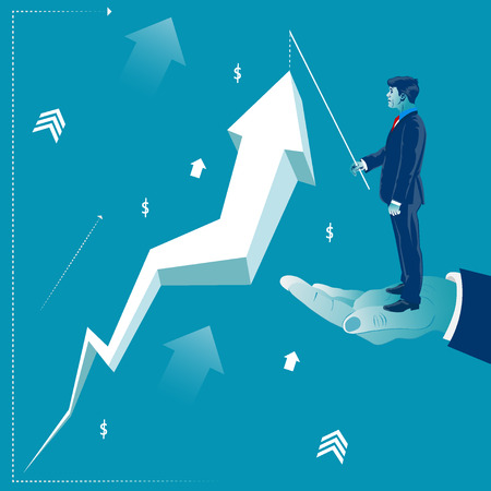 Businessman standing on helping hand and lifting profit arrow concept vector illustration Illustration