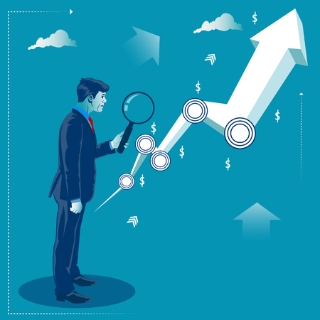 Investment opportunity concept. Businessman looking through magnify glass at the profit graph. Business concept Vector illustration.