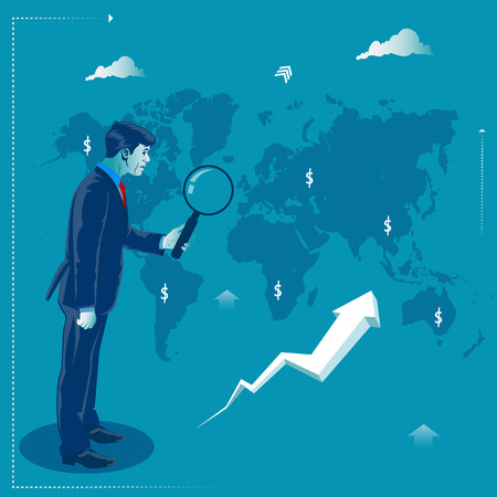 Global investment. Businessman looking through magnify glass at possible investment opportunities. Business concept vector illustration Illustration