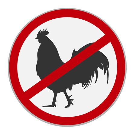 No chicken sign. Dietary restriction. Vector illustration