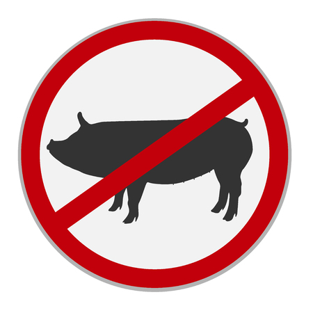 No pork sign. Dietary restriction. Vector illustration Ilustrace