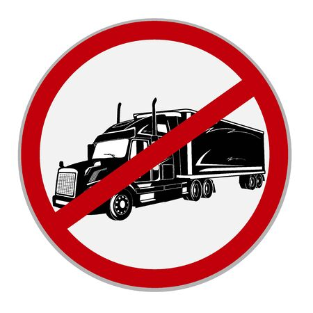 No semi trucks allowed sign. Vector illustration