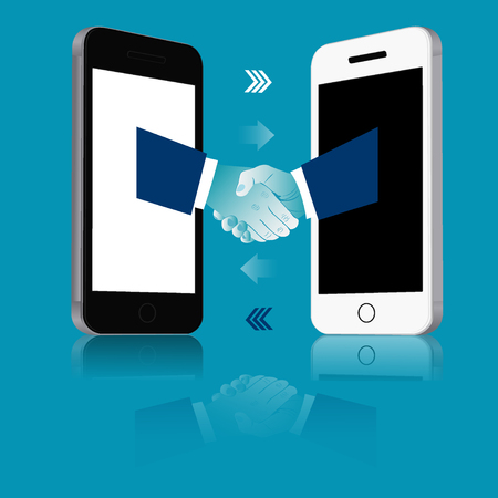 Online business communication. Handshake from mobile phones. Business concept vector illustration