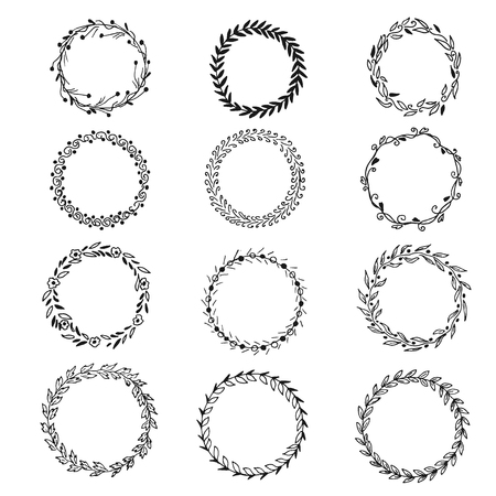 Set of hand drawn wreaths, vector illustration