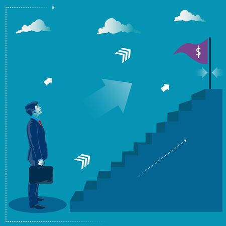 Reaching the target. Businessman standing in front of stairs to his goal. Business concept vector illustration Illustration