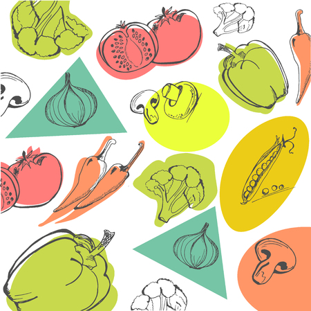 Hand drawn vegetables, food concept vector illustration