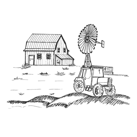 Farm with tractor and windmill, hand drawn vector illustration 版權商用圖片 - 98956370