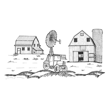 Farm with barn and windmill. Hand drawn vector illustration Vettoriali
