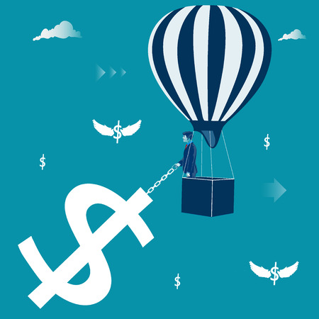 Financial success, businessman in hot air balloon with pulling a dollar sign.
