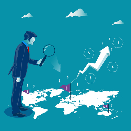 Global investment. Businessman looking to map to make good investments. Metaphor, vector illustration Illustration