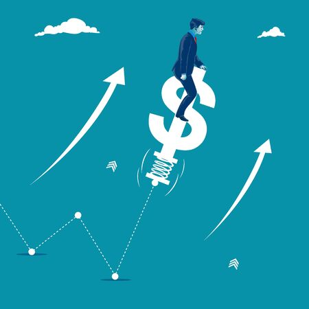 Grow. Businessman helping chart to grow by jumping on a dollar sign. Metaphor, vector illustration Illustration