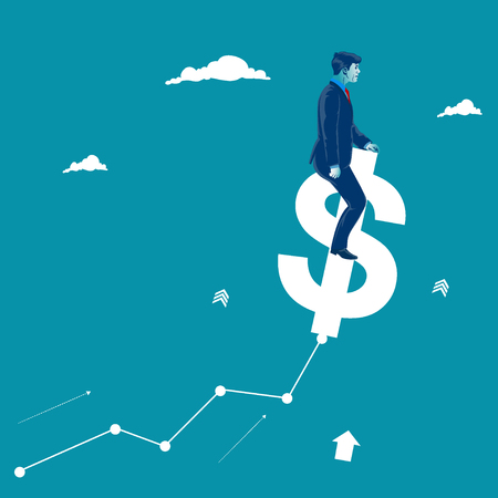 Rising market. Businessman helping chart to grow by jumping on a dollar sign. Metaphor, vector illustration