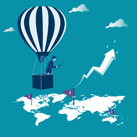 Opportunity for investment. Businessman looking to the map to make good investments. Metaphor, vector illustration Illustration
