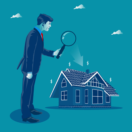 Business investment. Investor looking through the magnify glass to the house. Metaphor, vector illustration