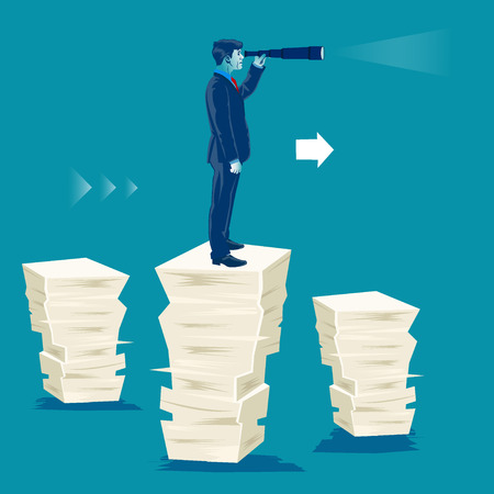 Search for opportunities. Businessman standing on pile of papers and looking through the telescope. Business metaphor, vector illustration Illustration