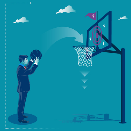 Businessman and his target. Businessman throwing basketball ball into the basket. Business metaphor, vector illustration