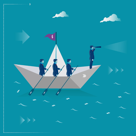 Team work. Businessmen rowing on the paper ship. Business metaphor, vector illustration Çizim