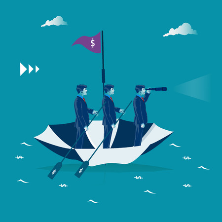 Team work. Businessmen rowing on the umbrella. Business metaphor, vector illustration Illustration