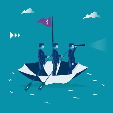 Teamwerk. Zakenlieden die op de paraplu roeien. Bedrijfs metafoor, vectorillustratie
