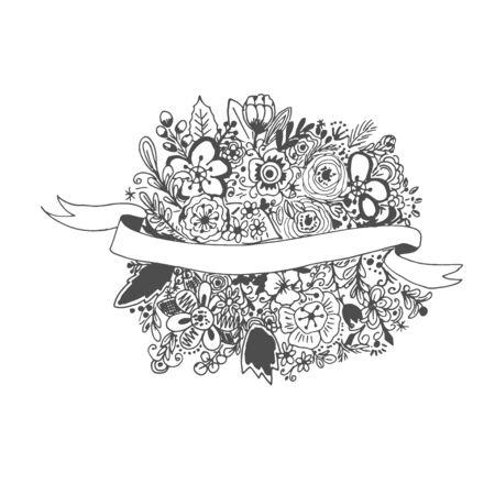 Floral banner, hand drawn, ink sketch, vector illustration 版權商用圖片 - 99934228