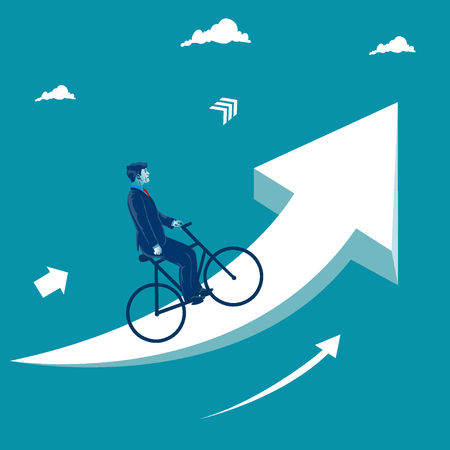 Businessman riding bike on the rising arrow.