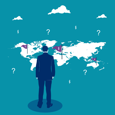 Business decision. Businessman looking on the world map. Business metaphor, vector illustration Ilustrace
