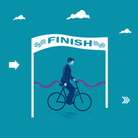 Businessman crossing finish line on his bicycle. Business metaphor, vector illustration