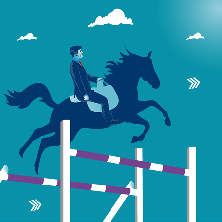 Overcoming business obstacles. Businessman jumping on his horse over obstacles. Business metaphor, vector illustration.